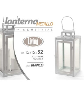 LANTERNA BIANCA IN METALLO  DIM. 15X18X32H
