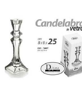 CANDELABRO CLEAR 8X8X25CM