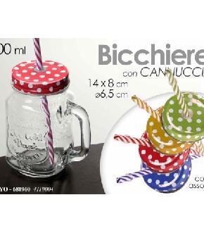 BICCHIERE CON COPERCHIO E CANNUCCIA 400ML 14CM POIS